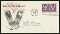 MAYFAIRSTAMPS US FDC SEALED 1942 PAIR WIN THE WAR ART CRAFT