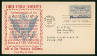 MAYFAIRSTAMPS US FDC SEALED 1945 UNITED NATIONS CONFERENCE F