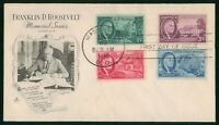 MAYFAIRSTAMPS US FDC SEALED 1946 COMBO 4 FRANKLIN D ROOSEVEL