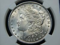 1892 $1 MORGAN DOLLAR MINT STATE 62 NGC, BETTER DATE  COIN