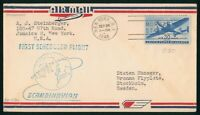 MAYFAIRSTAMPS US FIRST FLIGHT COVER 1946 NEW YORK TO STOCKHO