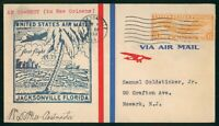 MAYFAIRSTAMPS US FIRST FLIGHT COVER 1938 JACKSONVILLE TO NEW