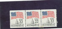 MNH   USA  PLATE NUMBER COILS  ISSUED  1985  FLAG        PNC