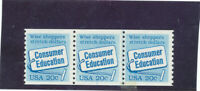MNH   USA  PLATE NUMBER COILS  ISSUED  1982  CONSUMER EDUCAT