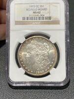 1893-CC $1 MORGAN SILVER DOLLAR CARSON CITY MINT STATE 62 NGC REDFIELD HOARD COLLECTION
