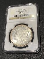 1883-S MORGAN SILVER DOLLAR NGC MINT STATE 62 REDFIELD HOARD COLLECTION