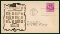 MAYFAIRSTAMPS US FDC UNSEALED 1940 FAMOUS AMERICAN ISSUE FIR