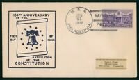 MAYFAIRSTAMPS US FDC 1938 RATIFICATION CONSTITUTION ANNIV US