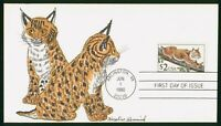 MAYFAIRSTAMPS US FDC 1990 HAND COLORED BOBCAT FIRST DAY COVE