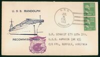MAYFAIRSTAMPS US NAVAL 1953 USS RANDOLPH RECOMMISSIONED USS