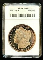 1881-O MINT STATE 64 DMPL ANACS EARLY HOLDER