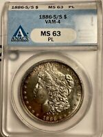 1886-S/S MORGAN DOLLAR VAM-4 MINT STATE 63 PROOF LIKE MUST HAVE KEY DATE COIN