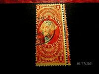 R68C $1 FOR EX DOUBLE PERFS BLUE 1869 CO. HS F VF