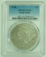 1798 DRAPED BUST SILVER DOLLAR LARGE EAGLE PCGS EXTRA FINE 45 EXTRA FINE  45 GENUINE OLD US COIN