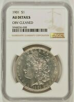 1901 MORGAN SILVER DOLLAR $1 NGC AU DETAILS OBVERSE CLEANED 5948256-008