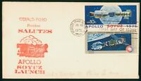 MAYFAIRSTAMPS US FDC 1975 APOLLO SOYUZ GERALD FORD SALUTES F