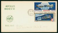 MAYFAIRSTAMPS US FDC 1975 APOLLO SOYUZ ROLL OUT FIRST DAY CO