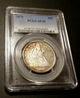 1878 SEATED LIBERTY SILVER HALF DOLLAR CERTIFIED PCGS AU 55 TONING LUSTER
