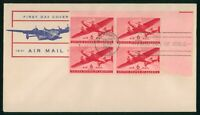 MAYFAIRSTAMPS US FDC UNSEALED 1941 BLOCK PLATE 6 CENTS AIR M