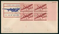 MAYFAIRSTAMPS US FDC SEALED 1941 BLOCK PLATE 15 CENTS AIR MA