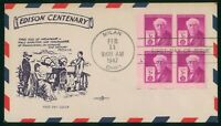 MAYFAIRSTAMPS FIRST DAY COVER US FDC 1947 EDISON CENTENARY B