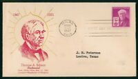 MAYFAIRSTAMPS FIRST DAY COVER US FDC 1947 THOMAS ALVA EDISON