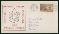 MAYFAIRSTAMPS US FDC UNSEALED 1957 BOY SCOUT JAMBOREE FIRST