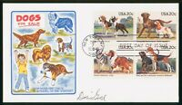 MAYFAIRSTAMPS US FDC SEALED 1984 BLOCK DOGS DORIS GOLD FIRST