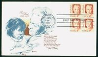 MAYFAIRSTAMPS US FDC UNSEALED 1983 BLOCK PEARL BUCK AUTHOR T