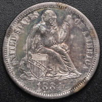 1884 SEATED 10C  DIME  ABOUT UNCIRCULATED