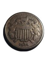 1864 TWO CENT PIECE LARGE MOTTO VG VERY GOOD CONDITION NICE