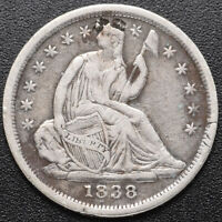 1838 SEATED 1/2 10C  HALF DIME  FINE CLEANED