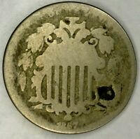 1867-P 5C SHIELD NICKEL NO RAYS 19SRR0714 70 CENTS SHIPPING