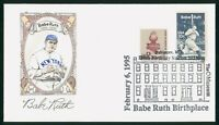 MAYFAIRSTAMPS US FDC UNSEALED 1995 BABE RUTH BASEBALL FIRST