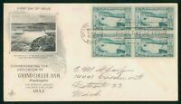 MAYFAIRSTAMPS US FDC 1952 GRAND COULEE DAM BLOCK RECLAMATION