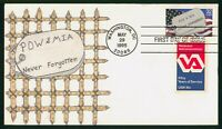 MAYFAIRSTAMPS US FDC 1995 HAND COLORED POW MIA DOG TAG FIRST