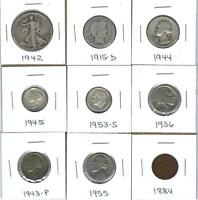 NINE VARIOUS OLDER U.S. COINS   CIRCULATED   SIX HAVE SILVER