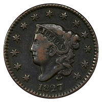 1827 1C PCGS VF30 CORONET LARGE CENT  EXCEPTIONAL ORIGINAL LUSTER & QUALITY