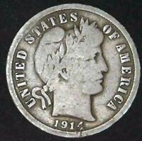 1914-D 10C BARBER DIME 90 SILVER 21STO0320 70 CENTS SHIPPING