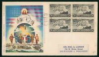 MAYFAIRSTAMPS US FDC UNSEALED 1948 IMMORTAL CHAPLAINS BLOCK