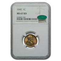 1940 LINCOLN CENT MINT STATE 67 NGC CAC RED - SKU239101