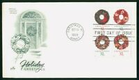 MAYFAIRSTAMPS US FDC UNSEALED 1998 CHRISTMAS WREATHS BLOCK A