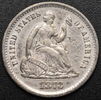 1873 S SEATED 1/2 10C  HALF DIME  CLEANED