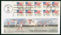 MAYFAIRSTAMPS US FDC 1991 OLYMPIC RINGS AMERICAN FLAG BLOCK