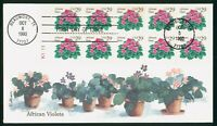 MAYFAIRSTAMPS US FDC 1993 AFRICAN VIOLETS BLOCK FIRST DAY CO