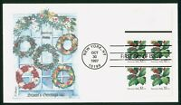 MAYFAIRSTAMPS US FDC 1997 AMERICAN HOLLY BLOCK FIRST DAY COV