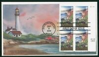 MAYFAIRSTAMPS US FDC 2000 CA STATEHOOD BLOCK LIGHTHOUSE FIRS