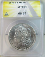 1879 S MORGAN DOLLAR ANACS MINT STATE 65 VAM 37 S/S LINES EP
