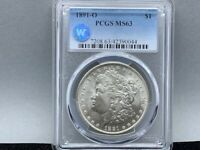 1891-O PCGS MINT STATE 63 MORGAN SILVER DOLLAR ORIGINAL LUSTER SIGHT WHITE CERTIFIED