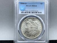 1890-O PCGS MINT STATE 64 MORGAN SILVER DOLLAR ORIGINAL LUSTER SIGHT WHITE CERTIFIED
